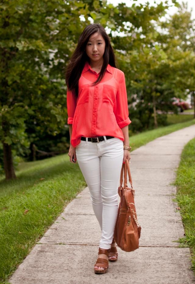 orange, forever 21, forever 21 top, forever 21 jeans, wedges, steve madden, white jeans, white pants