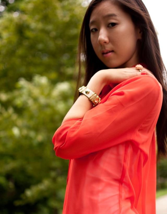 orange, forever 21, forever 21 top, tobi, ring, bracelet, studded bracelet, flower ring, forever 21 ring, jewelry