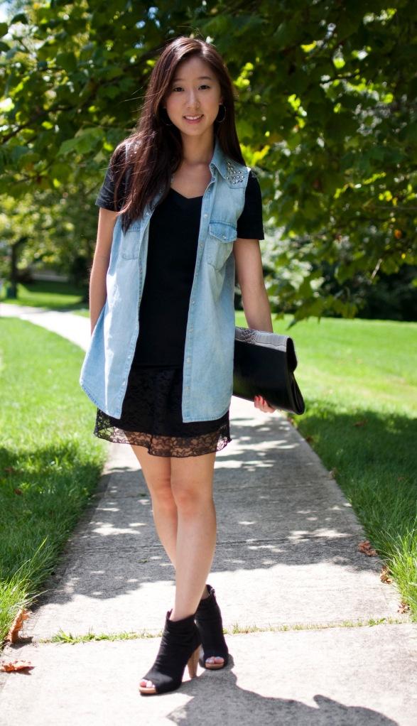 forever 21 denim vest, target lace dress, faux suede booties, envelope clutch